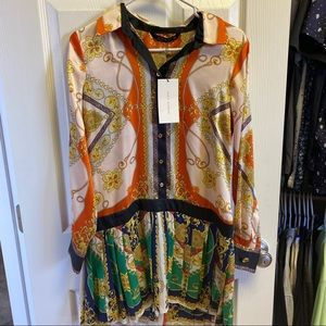ASOS Pleated Chain Dress Small Blogger Designer